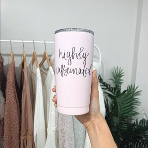 "🆕 Blush Pink ""Highly Caffeinated"" Travel Mug"